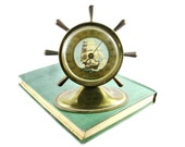 Vintage Brass Ships Wheel Thermometer / 1950s Nautical Design Home Decor / Sail Boat / Advertisng Thermometer / Gifts for Him / Guy Gift
