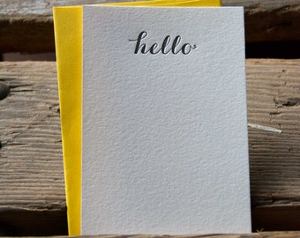 hello Stationery Set, 10 pack, letterpress printed eco friendly.