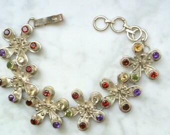 Vintage Sterling Silver And Semi-Precious Stones Bracelet