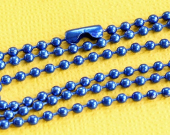 """2 Ball Chain Necklaces Blue 27"""" Great Quality for All Your Creations C10"""