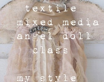 textile mixed media folk art doll my style      my new online class by karen milstein
