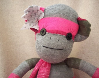 Sock monkey stuffed toy in pink stripes, sock monkey plush toy, monkey made from socks, sock monkey nursery decor
