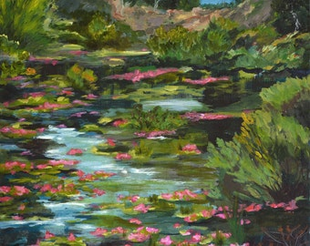 Water Fleurs print of acrylic painting
