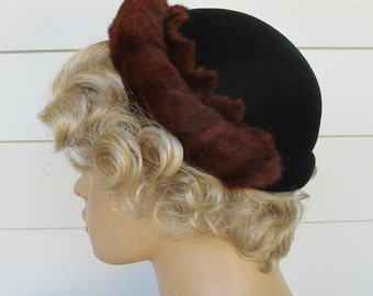 1950s Hat Black Fur Trimmed By Lecie Original