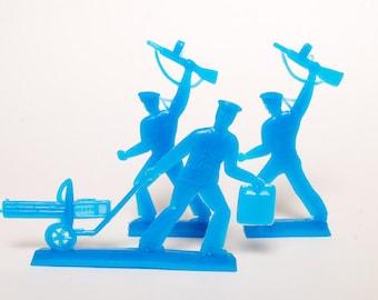 Set of 3 Vintage plastic toys, blue plastic seamen, soldier