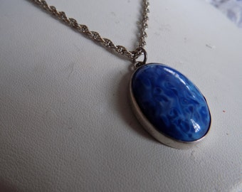 Vintage pendant, blue marbled stone and sterling silver pendant and chain, designer pendant, retro jewelry