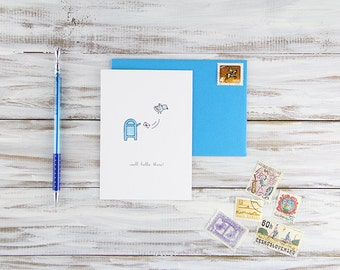 Friendship Card Thinking of You - Hand Illustrated Air Mail Blue Bird Card