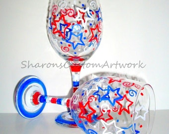 Hand Painted Wine Glasses  Fourth Of July  Patriotic  Red  White and Blue Stars and Stripes Independence  Day Set of  2 - 20 oz. New Years