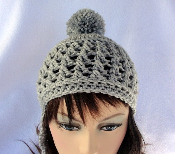 Crochet Patterns Hat With Ear Flaps : Crochet Hat Pattern Crochet Ear Flap Hat by longbeachdesigns