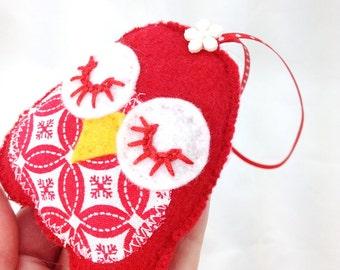 Felt owl ornament, owl decoration, owl tag, owl ornament, woodland ornament, sleepy owl, baby room decor