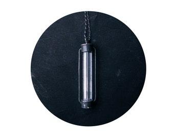 aquamarine lighthouse lantern, oxidized sterling silver necklace, handmade silversmith