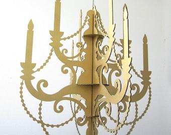 Gold Cardboard Chandelier -  Metallic Chandelier, New Year's Chandelier, Party Chandelier, Hanging Chandelier, Paper Chandelier