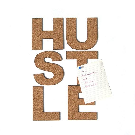 Items similar to hustle cork board bulletin board word for Modern cork board