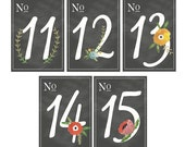 Floral Chalkboard Table Numbers 11-20 5x7 (More Numbers Available)