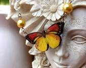Red and Gold Butterfly with Gold Swarovski Pearls
