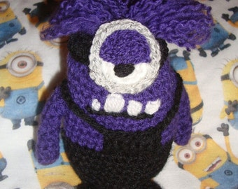 Set of 2 crochet despicable me style purple evil minion minions doll toy sci-fi geek