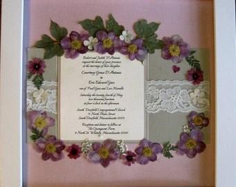 Wedding Invitation Keepsake with Pressed Flowers (Examples)