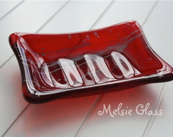 Red and White glass soap dish with white glass design