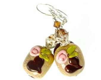 Lampwork Earrings, Heart Chocolate Earrings, Glass Bead Earrings, Floral Beadwork Earrings, Glass Bead Jewelry, Lampwork Jewelry