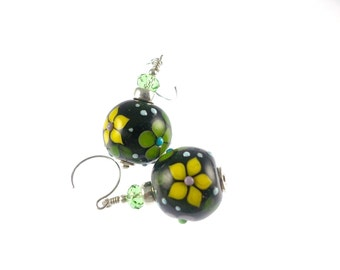 Black Lampwork Earrings, Glass Bead Earrings, Lampwork Jewelry, Yellow Flower Earrings, Beadwork Earrings, Green Glass Bead Jewelry