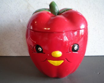 Vintage Mid Century Ceramic Anthropomorphic Red Apple Cookie Jar - Made In Japan