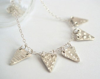 Fine Silver Bunting necklace - gift for her birthday gift anniversary gift