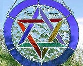 "Stained Glass Suncatcher - Jewish Star of David - Blue Sun Catcher - Handcrafted Stained Glass Sun Catcher - 8"" - 9573-BL-MC"