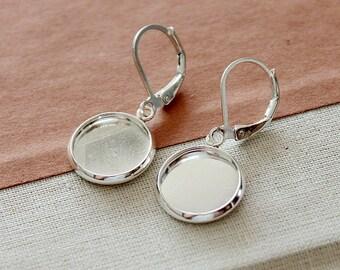 10Pcs 12mm Silver plated  brass Earring ear hook  Hoop with 12mm Round Pad NICKEL FREE (EAR-93)
