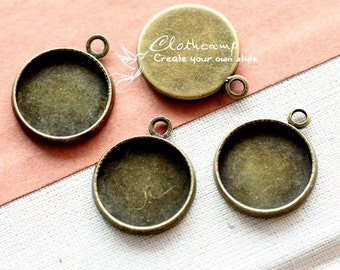 14mm 16mm Antique Bronze plated Raw Brass Round Cameo Base Setting Charm / Pendant (SETHY-201.202)