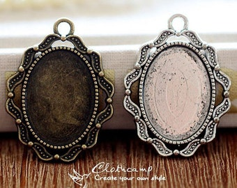 10Pcs 18x25mm  Antique Bronze/Antique Silver/ Cabochon Setting Cameo Base frame Base for making necklaces and pendants(SETHY-226)