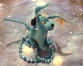 Holiday SALE!  OOAK Kandi Necklace with Neopets Blue Gelert Dog Plushie