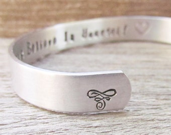Bracelet Secret Message Hand Stamped Jewelry Cuff Always Believe In Yourself Quote Personalized Inspirational Encouragement Graduation