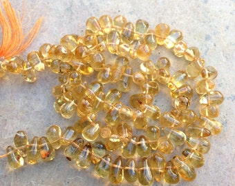 Citrine Teardrop Beads, side drilled, full 14 inch strand, 6mm approx.