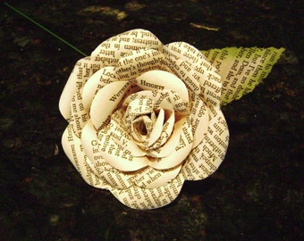 paper rose flower Wuthering Heights Emily Bronte  recycled book pages  romance classic for wedding bouquets and decorations