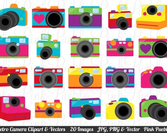 Cute Retro Camera Clipart Clip Art Vectors, Great for Photography Logos - Commercial and Personal Use