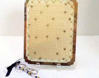 Valentine Card- Teacher Card- Embossed Card- Card Key Ring Set- Teacher Gift Set- Globe Key Ring- Valentine Gift Set- Valentines