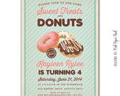 Vintage Donut Party Invitation, Sweet Treats and Donut Party, I will customize for you, Print your own