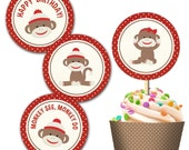 Sock Monkey Cupcake Topper and Wrap Set - DIY - Print Your Own