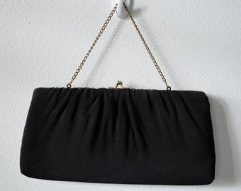 Vintage Clutch Purse Small Black Handbag 1960s Evening Bag in Black Fabric with Gold Metal frame and Gold Chain Handle Pink Lining