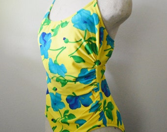 Vintage SwimWear 1980s Bathing Suit Cole of California Swim Suit Yellow with Turquoise Hibiscus Flowers Ruching Size Large