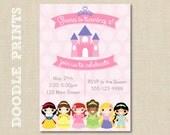 Princesses Castle Invitation - Printable Disney PRINCESS Birthday Party Invitation - Princess Castle Design - Ariel, Belle, Snow White, etc