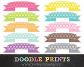 Polka Dot Ribbons Banners - Digital Scrapbook Clip Art Printable - Personal & Commercial Use