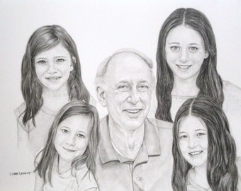 Custom Pencil Portrait Commission Family