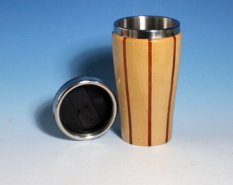 Birch with Jatoba Accents Wooden Travel Mug with Stainless Steel Insert and Sliding Sipper TopJatoba