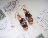 Pearl and Copper Sheet Metal Earrings