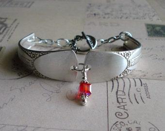 July Ruby Birthstone Silver Spoon Bracelet FREE SHIPPING