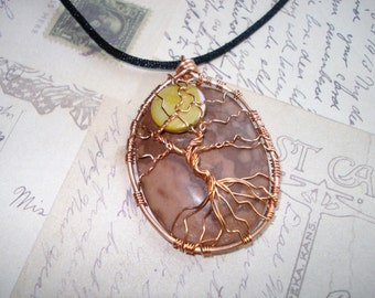 Zebra Stone with Moon Tree of Life Necklace Free Shipping