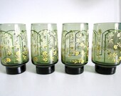 Libbey Smokey Green & Yellow Glassware