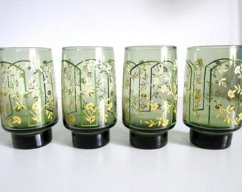 Libbey Smokey Green & Yellow Glassware