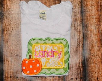 Frame with Pumpkin Embroidered Personalized Shirt or Bodysuit